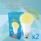《南亞光電NYPI》LED半周光廣角型球泡燈8W 黃光(2入/組)